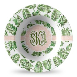 Tropical Leaves Plastic Bowl - Microwave Safe - Composite Polymer (Personalized)