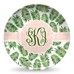 Tropical Leaves Microwave Safe Plastic Plate - Composite Polymer (Personalized)