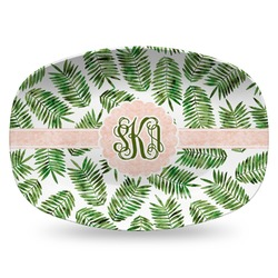 Tropical Leaves Plastic Platter - Microwave & Oven Safe Composite Polymer (Personalized)