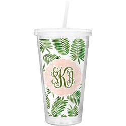 Tropical Leaves Double Wall Tumbler with Straw (Personalized)