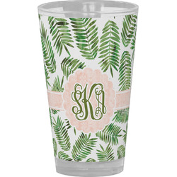 Tropical Leaves Drinking / Pint Glass (Personalized)