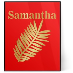 Tropical Leaves 8x10 Foil Wall Art - Red (Personalized)