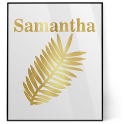 Tropical Leaves 8x10 Foil Wall Art - White (Personalized)
