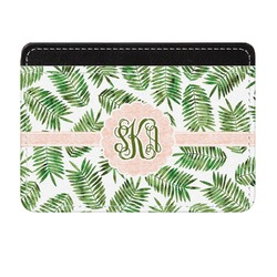Tropical Leaves Genuine Leather Front Pocket Wallet (Personalized)