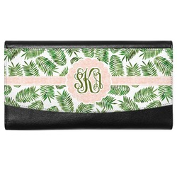 Tropical Leaves Genuine Leather Ladies Wallet (Personalized)