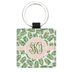 Tropical Leaves Genuine Leather Rectangular Keychain (Personalized)