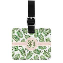 Tropical Leaves Genuine Leather Luggage Tag w/ Monogram