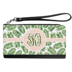 Tropical Leaves Genuine Leather Smartphone Wrist Wallet (Personalized)