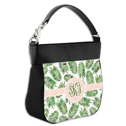 Tropical Leaves Hobo Purse w/ Genuine Leather Trim (Personalized)