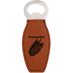 Tropical Leaves Leatherette Bottle Opener (Personalized)