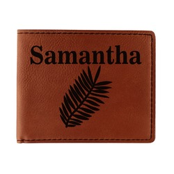 Tropical Leaves Leatherette Bifold Wallet - Double Sided (Personalized)