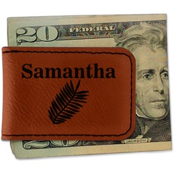 Tropical Leaves Leatherette Magnetic Money Clip - Single Sided (Personalized)