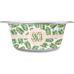 Tropical Leaves Stainless Steel Pet Bowl (Personalized)