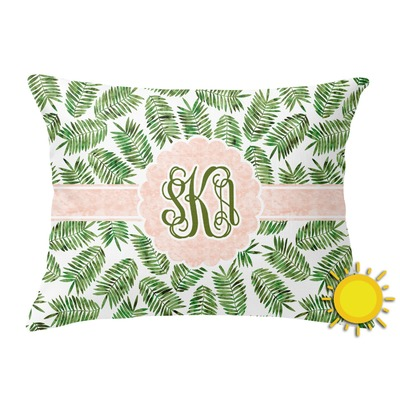 Tropical Leaves Outdoor Throw Pillow (Rectangular) (Personalized)