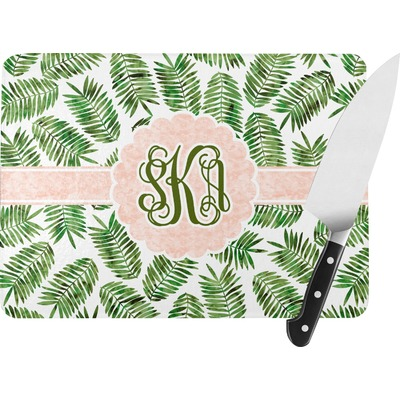 Tropical Leaves Rectangular Glass Cutting Board (Personalized)