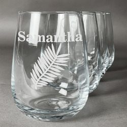 Tropical Leaves Wine Glasses (Stemless Set of 4) (Personalized)