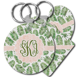 Tropical Leaves Plastic Keychains (Personalized)
