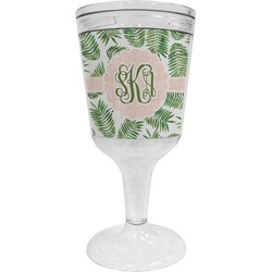 Tropical Leaves Wine Tumbler - 11 oz Plastic (Personalized)