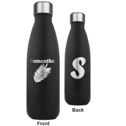 Tropical Leaves RTIC Bottle - Black - Engraved Front & Back (Personalized)