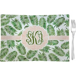 Tropical Leaves Rectangular Glass Appetizer / Dessert Plate - Single or Set (Personalized)