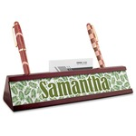 Tropical Leaves Red Mahogany Nameplate with Business Card Holder (Personalized)
