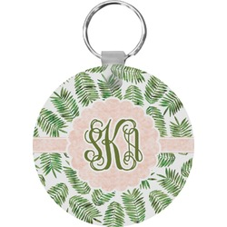 Tropical Leaves Round Keychain (Personalized)
