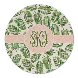 Tropical Leaves Round Linen Placemat (Personalized)