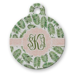 Tropical Leaves Round Pet Tag (Personalized)