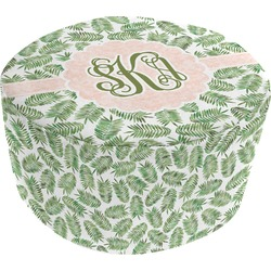 Tropical Leaves Round Pouf Ottoman (Personalized)