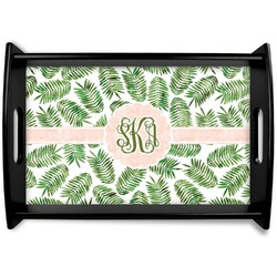 Tropical Leaves Black Wooden Tray (Personalized)