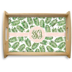 Tropical Leaves Natural Wooden Tray (Personalized)