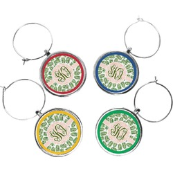 Tropical Leaves Wine Charms (Set of 4) (Personalized)