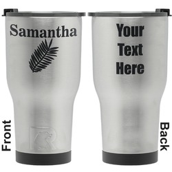 Tropical Leaves RTIC Tumbler - Silver - Engraved Front & Back (Personalized)