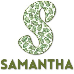 Tropical Leaves Name & Initial Decal - Custom Sized (Personalized)