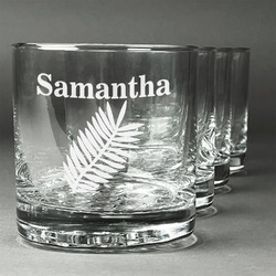 Tropical Leaves Whiskey Glasses (Set of 4) (Personalized)
