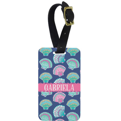 Preppy Sea Shells Metal Luggage Tag w/ Name or Text