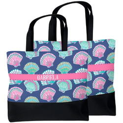Preppy Sea Shells Beach Tote Bag (Personalized)
