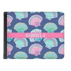Preppy Sea Shells Genuine Leather Men's Bi-fold Wallet (Personalized)
