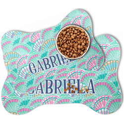 Preppy Sea Shells Bone Shaped Dog Food Mat (Personalized)