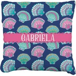 Preppy Sea Shells Faux-Linen Throw Pillow (Personalized)