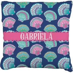 Preppy Sea Shells Faux-Linen Throw Pillow (Personalized)