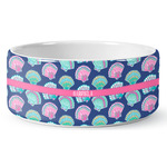 Preppy Sea Shells Ceramic Dog Bowl (Personalized)