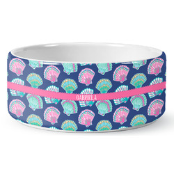 Preppy Sea Shells Ceramic Dog Bowl (Personalized)