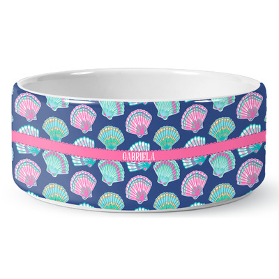 Preppy Sea Shells Ceramic Pet Bowl (Personalized)