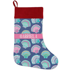 Preppy Sea Shells Holiday Stocking w/ Name or Text