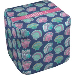 Preppy Sea Shells Cube Pouf Ottoman (Personalized)