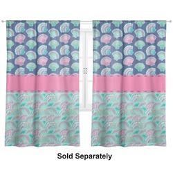 "Preppy Sea Shells Curtains - 20""x84"" Panels - Lined (2 Panels Per Set) (Personalized)"
