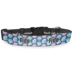 """Preppy Sea Shells Deluxe Dog Collar - Extra Large (16"""" to 27"""") (Personalized)"""