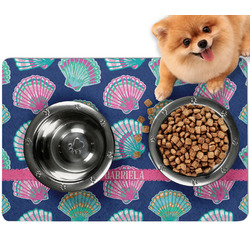 Preppy Sea Shells Dog Food Mat - Small w/ Name or Text