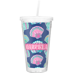 Preppy Sea Shells Double Wall Tumbler with Straw (Personalized)